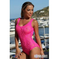 Neon Pink Sheer French Lace 1-PC
